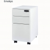 Emakps 3 Drawer File Cabinet, White File Cabinet with Lock Wheels, Metal Filing Cabinet for Legal/Letter Size